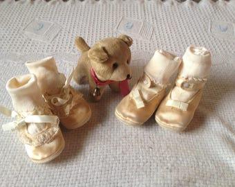 Vintage Satin Baby Crib Shoes elegant 1950's