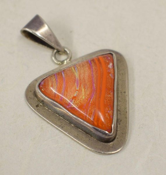 Pendant Sterling Silver Dichroic Glass Handmade Handcrafted Orange Glass Pendant Chain Gift for Her  Gift for Him Jewelry Necklace