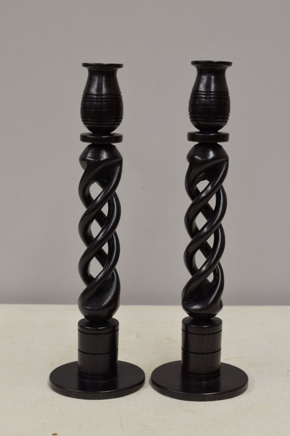 African Candle Holders Pair Twined Design Candle HoldersTanzania Handmade Ebony Wood  Unique Twined Candle Holders