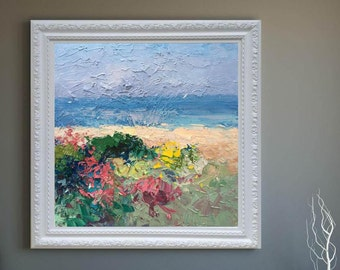 Abstract Beach Painting on Canvas Oil Painting Original Beach Art Ocean Painting Sea Painting Landscape Art Large Painting Anniversary Gifts