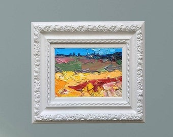 Abstract Landscape Painting Poppies and Sunflowers Field Art Oil Painting Tuscan Country Art Italy Painting Modern Art Landscape Art Gifts