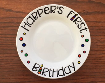 First Birthday Gift - First Birthday Plate - Cake Smash Plate - Smash Plate - Hand Painted  - Custom First Birthday Gift - Customized Plate