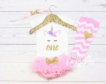 1st Birthday Unicorn Onesie, First Birthday Unicorn Onesie, First Birthday Girl Outfit, Unicorn Birthday Outfit, Girls Unicorn Birthday