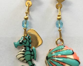 Lunch At The Ritz Seahorse & Clamshell Earrings
