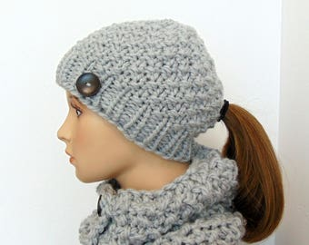 Gray Ponytail Hat and Cowl Set - Ponytail Beanie - Gift for Her - Chunky Knit - Made in Alaska - Women's Christmas Gift READY TO SHIP