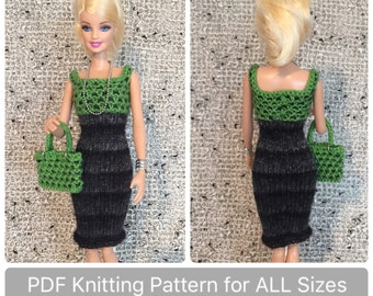 Barbie Clothes Pattern for Knit Checked Dress ALL Sizes, instructions for Tall, Petite, Curvy, & Classic Barbie, Knitting Pattern for Dolls