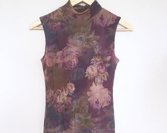 vintage floral purple mockneck sleeveless top // size small-medium