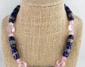 Cobalt blue necklace, cobalt blue beaded necklace, pink beaded necklace, pink necklace, necklace cobalt blue, necklace pink