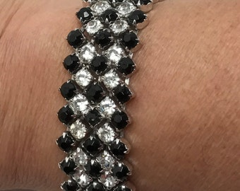 Fabulous Vintage Black Glass and Clear Rhinestone Bracelet
