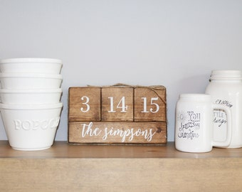 Wedding Date Wooden Blocks