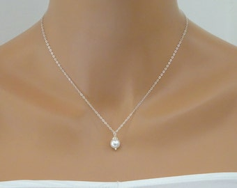 STERLING SILVER Pearl Necklace, Minimal Bridal Necklace, Single Pearl Wedding Necklace, Bridesmaid necklace