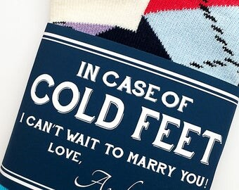 Cold Feet Personalized Groom Gift to Bride // Label and Bride Socks Best Wedding Gift for the Bride from Groom // Engagement Gift for Bride
