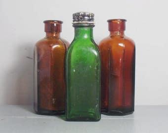 Vintage Set of Glass Bottles/Green Bottle/Medicine Bottles/Brown Bottles/Amber Bottles/Bottle Collection/Apothecary Bottles/Chemist Bottles