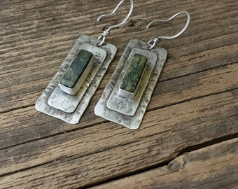 Rustic silver earrings, textured metal, green serpentine earrings