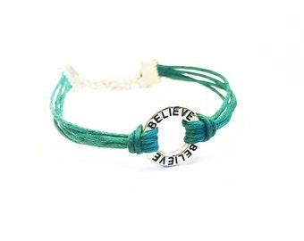Believe Bracelet, Inspirational Bracelet, Believe Charm Bracelet, Friendship Bracelet, Gifts For Girls Bracelet, Inspirational Quote Jewelry