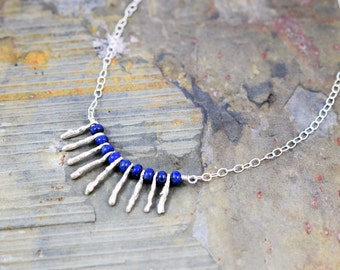 Silver and  Blue  Bib Necklace -lapis Lazuli & Sterling Silver