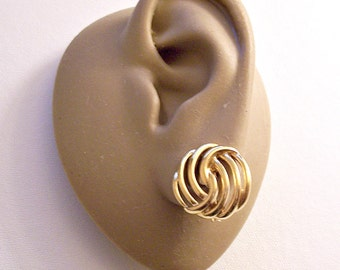 Monet Swirl Rib Button Pierced Post Stud or Clip On Earrings Gold Tone Vintage Round Open Rings