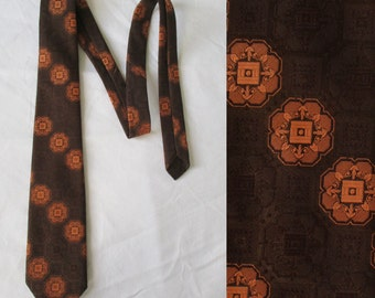 Mens neck tie cravat, brown & orange patterned, french 70s vintage tie cravate