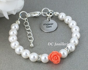 Coral Flower Bracelet, Pearl and Flower Bracelet, Swarovski Bracelet, Flower Girl Gift, Coral Bracelet, Flower Girl Jewelry, Pearl Bracelet