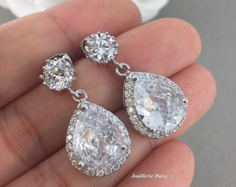 Bridal Earrings, Wedding Earrings, Dangle Earrings, CZ Earrings, Rhinestones Earrings, Teardrop Earrings, Bridal Jewelry, Bridesmaids Gifts