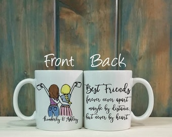 Best friends mug, custom mug, long distance mug, personalized mug, Best friend gift, going away gift, best friend