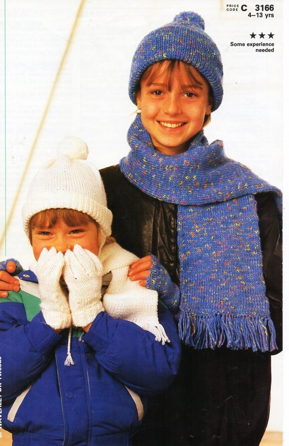 Knitting Patterns Childrens Hats Mittens : childrens hat gloves scarf sets knitting pattern pdf DK cap