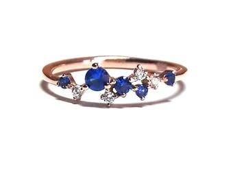 14K Gold Ring-Sapphire Ring-Gold Ring-Diamond Ring-Rose Gold Ring-14K Gold Zirconia Handmade Sapphire Ring