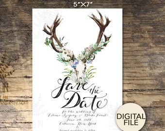 Bohemian Save the date card, boho rustic wedding, boho floral wedding, Save the date card, rustic save the date, PRINTABLE