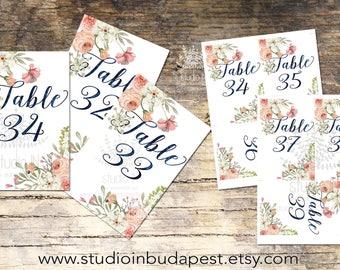 Wedding Table Numbers 31-40, Printable Table Numbers, rustic table number, flower table numbers, Wedding Printable, Wedding table Sign,