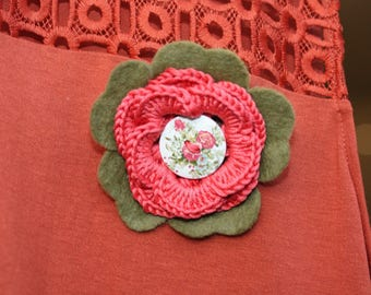 Orange and olive green handmade flower brooch