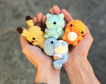 Pokemon Amigurumi -  Pokemon Plush - Charmander Plush - Squirtle Plush - Bulbasaur Plush-  Pikachu Plush - Mini Amigurumi