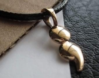 Solid Bronze Semicolon Charm Pendant