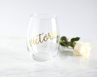 Personalized wine glasses, bridesmaid wine glass, personalized wine glass, bridesmaid gift, personalized bridesmaid gifts, stemless glass