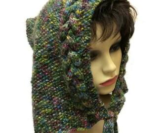 Elven hood Pixie hood, Elfin hat, Elven hood, Festival, Hippy, Boho, Hand knit Hat, Fairy hood, Woodland hoody Folk Merino Hat Oversized hat