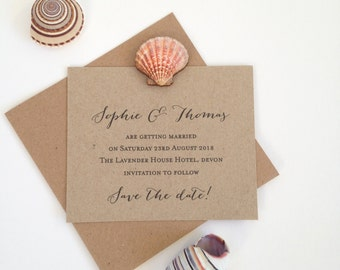 Beach Wedding Save The Date Cards, Wedding Save The Dates, Rustic Save The Date Card, Kraft Save The Day, Shell Save The Date
