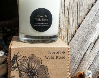 Handmade Neroli & Wild Rose scented soy candle