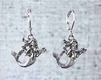 Mermaid Earrings with Sterling Silver Leverback Hooks