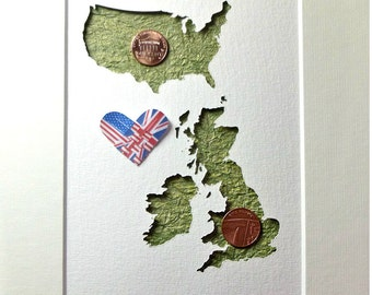 Irish Made Goods, America UK Anniversary, US England Art, Two Countries Art, Union Jack, Stars and Stripes, Map Flag Art, Love Distance