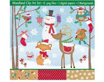 Christmas Clipart,Christmas Clip Art,Clipart,Holiday Clipart,Christmas Digital Paper,Reindeer Clipart,Snowman Clipart,Fox,Owl,Commercial