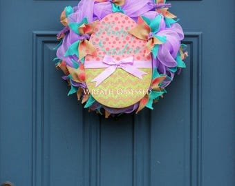 Easter Egg Wreath , Lavender Easter Wreath , Easter Holiday Home Decor , Christian Housewarming Gift, Hostess Gift , Wreath Obsessed