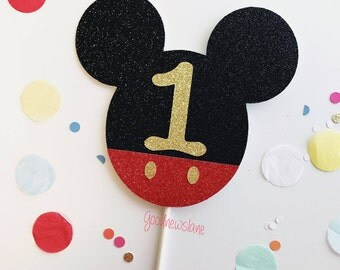 Any Number Custom Mickey Mouse, Cake Topper, 1st Birthday