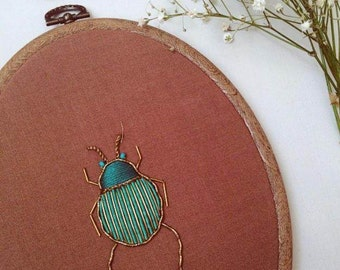 Turquoise and emerald green Goldwork scarab beetle