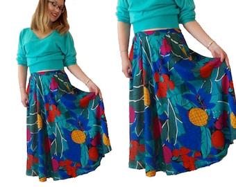 80s Summer Midi Skirt, Tropical Leaf Print Skirt, Colourful Retro Summer Skirt, High Waist 80s Fruit Print Skirt