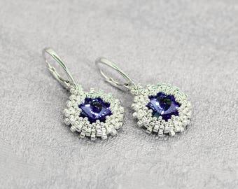 Bridal shower gift-for-bride Purple wedding jewelry-for-bride earrings-for-bridesmaid gift Purple earrings Lavender earrings Drop earrings