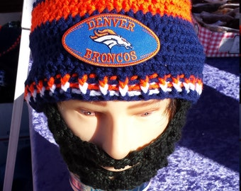 DENVER BRONCOS Bearded Beanie, Denver Broncos Embroidered Patch, Handcrafted Beanie,Any Size ,Any Color,Check All 5 Pictures,Sports FASHION