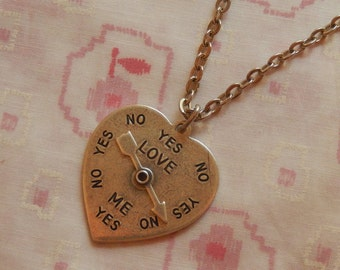 Yes No Love Me Spinner Heart Antique Silver Plated Pendant Charm Necklace