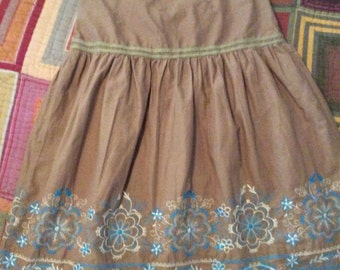 Boho Embroidered Milk Chocolate Skirt