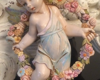"Larger 7"" Vintage Fontanini Depose Simonetti Cherub Angel / Four Seasons - Spring #955 1985 Italy Ornament Wall Decoration"