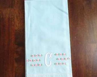 """Vintage Blue Embroidered Cotton Guest Towel, Initial """"C"""" Tea Towel with Hand Embroidery, Shabby Romantic Decor, Mid Century Home Accent ~"""