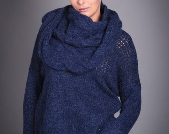 Hand knitted sweater with cowl / Hand Knit /Loose knit sweater / Navy Blue / Women's clothing / Baby Alpaca / Merino Wool.